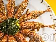 Пържена панирана риба сафрид с корнфлейкс, грис и галета